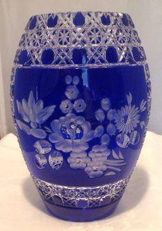 Gorgeous Signed Meissen Cobalt Cut Glass Vase | eBay