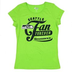 Giii NFL Women's Seattle Seahawks Crew Neck T-Shirt Lime Green S-XL #Giii #GraphicTee