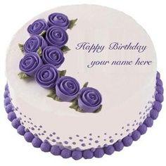 write name purple rose flower birthday cake profile pics.  purple rose birthday greetings name cake generator. lover birthday cake purple roses set dp profile picture