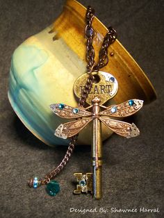 The Dragonfly's Key by ~FoxeeTreasures on deviantART Dragonfly Decor, Dragonfly Jewelry, Key Jewelry, Jewelry Crafts, Jewelery, Key To My Heart, Metallic Blue, Faeries, Vintage Jewelry