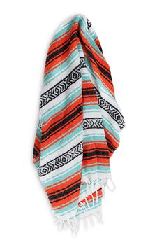 This is an authentic Mexican blanket in bright neon colors... perfect for the beach, picnic or as a bright home accent. Blanket colors: Turquoise, Orange, Black & White Measures approximately 6'x4' Ac