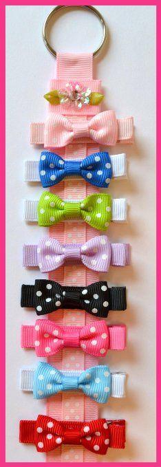 """Amazon.com: Set of 8 Polka Dot Hair Bows & Free Bow Holder! (1 1/4"""" Baby Snap ( Fine Baby Hair), Polka Dot Bows): Clothing"""