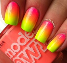 Fluoro gradient mani using Models Own Polish for Tans collection
