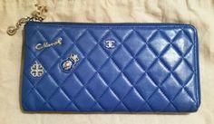 CHANEL Quilted Lambskin Embellished Zip Wallet Clutch Bag Cardholder Pepsi Blue