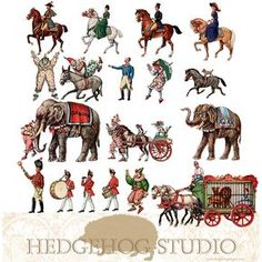 Download a free set of circus images for your digital art projects. Each image is in transparent png format. These images are from my antique and vintage collection of paper toys. Resize the images...