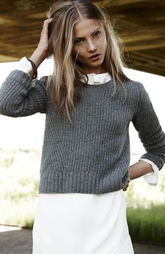 Madewell Meridian skirt worn with cropped pullover.