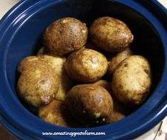 Crock Pot Baked Potatoes. Great way to have potatoes for the week. Throw 5 pounds in the crockpot, let them cool completely after cooking, then put in the fridge in a bowl, uncovered and with skins on. They will last a week.