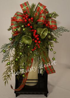 Christmas Lantern Swag with Bells by TheRustyHeart on Etsy