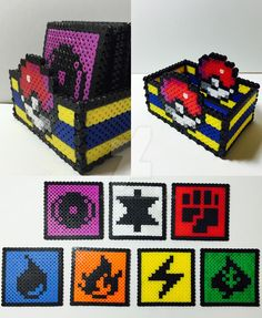 I made a set of 7 coasters, each with the original 7 Pokemon types, with perler beads. I also included a storage container that doesn't need glue due to placing the perler bead layout so that it is...