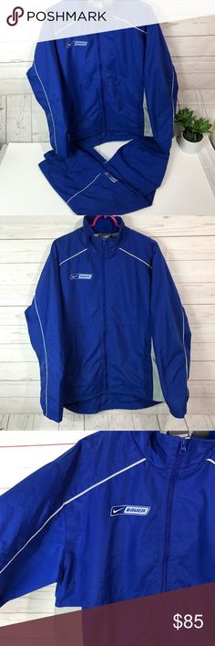 Nike Bauer hockey jacket +pant size large blue Great used condition. Lightly stain on sleeve but unnoticeable when worn. Please views all pictures for details  Both are Size Large   Non  smoke fast shipping. Thank you for choosing my closet Nike Jackets & Coats