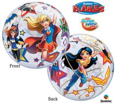 """Complete your Superhero Girls party décor with these fun Bubble Balloons! + Listing includes (1) 22"""" bubble balloon as pictured + Bubbles bring new life to balloons with a round, wrinkle free, & BEACH"""