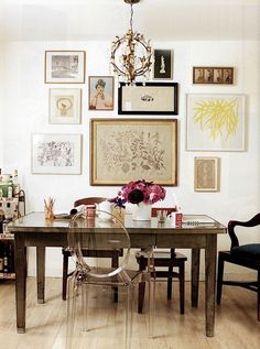 The dining room of journalist Amy Larocca. The eclectic blend of pieces, from sleek to antique and from industrial to down-home, speaks to the organic nature of the creative process. No matter how hard you try to force it--and believe me, I try!--things come together in their own natural way.