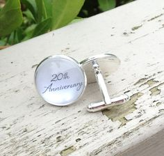 Anniversary cufflinks 20th anniversary cuff by OverTheMoonBridal