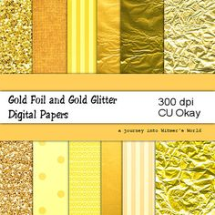 Gold Foil and Gold Glitter Digital Papers by WitmersDigitalDesign, $3.00