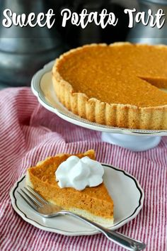 This sweet potato tart is a wonderful alternative to pumpkin pie. It's baked in a sweet cookie crust, and spiced with the flavors of fall. It's Southern through and through. #fallflavors @melissasproduce @tcvanilla Tart Recipes, Best Dessert Recipes, Desert Recipes, Easy Desserts, Delicious Desserts, Potato Recipes, Friend Recipe, Fall Dishes, Trifle Pudding