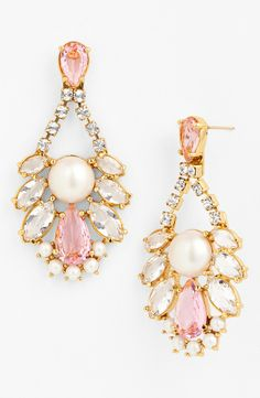 Smitten with these twinkly pink crystal and pearl chandelier earrings | Kate Spade