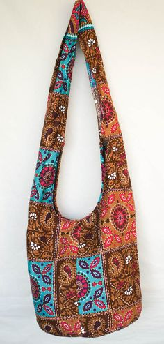 381da2faaa Items similar to YAAMSTORE brown patchwork graphic print pattern hobo bag  sling shoulder crossbody hippie boho purse on Etsy