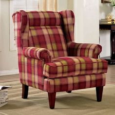 Top Product Reviews for Furniture of America Shermin Traditional Plaid Patterned Wingback Chair - Overstock.com - Mobile