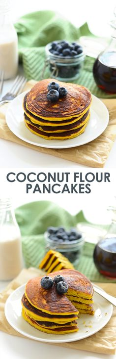 These are the best coconut flour pancakes you'll ever make! They're made with just 4 main ingredients and a little coconut oil making them grain-free, dairy-free, and refined sugar free!