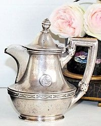 Antique Hotel Silver Statler Logo Single Teapot-antique,reed, barton, silver, soldered,vintage,patina,tea,breakfast,serving,