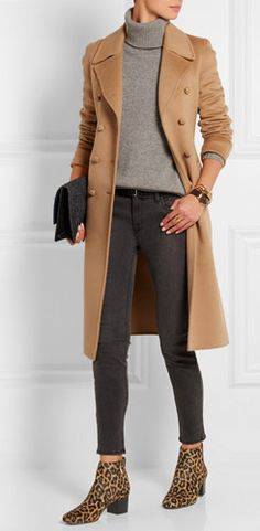 FALL 2015 - HOW TO WEAR YOUR BOOTIES HEELED WITH CROPPED JEANS OR PANTS SAM EDELMAN Edith Leopard-print Calf Hair Ankle Boots