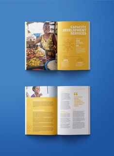ANDE Impact Annual Report - bold typography and colorful spreads with world map Magazine Layout Design, Book Design Layout, Print Layout, Design Layouts, Design Brochure, Annual Report Layout, Annual Report Covers, Annual Reports, Annual Review