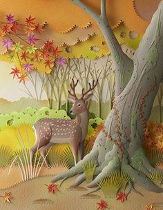 Бумажные работы Хидхару Найто с сайта Бумажная Луна. 3d Paper Art, Origami Paper Art, Paper Artwork, Paper Quilling, Art 3d, Kirigami, Mural Painting, Mural Art, 3d Cuts