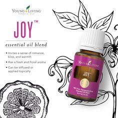 Joy Essential Oil Blend Bring joy this holiday season with our Joy™️ essential oil blend! This blend provides a fresh and floral scent that can be applied topically or diffused to help invite a sense of romance, bliss, and warmth. Joy Essential Oil, Essential Oils Guide, Therapeutic Grade Essential Oils, Natural Essential Oils, Essential Oil Blends, Young Living Oils, Young Living Essential Oils, Doterra, Young Living Abundance