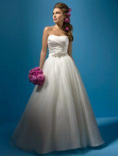 (NO.031063 )2011 Style A-line Strapless Sleeveless Chapel Train Satin,Organza Wedding Dress For Brides