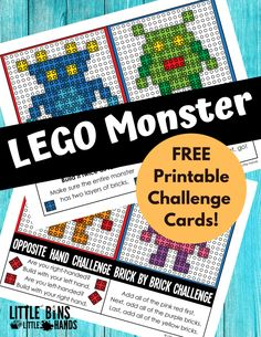 LEGO monster challenges are next in our collection of free LEGO challenges for kids. Use the bricks you already have to complete fun ideas for easy STEM. Stem Projects, Lego Projects, Lego Coding, Top Toys For Girls, Lego Challenge, Lego Activities, Free Lego, Lego For Kids, Lego Toys