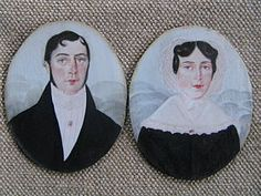 Pair of American Portrait Miniatures Folk Art Couple Miniature Paintings, Miniature Portraits, Primitive Painting, Art Watch, Tiny Treasures, Couple Art, Early American, Primitives, Silhouettes