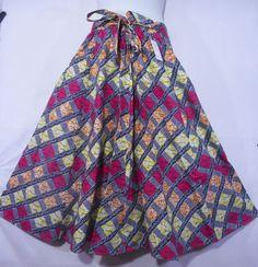 Women Ankara Wax Fabric Skirt Long Wide Flare Elastic Waist Boho Maxi Skirt P 02 #Handmade #ALine