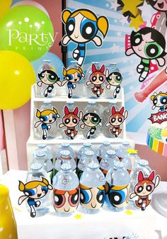 Fun drinks at a Powerpuff Girls birthday party! See more party planning ideas at CatchMyParty.com!