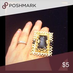 Gold and black ring Gold and black picture frame ring Jewelry Rings