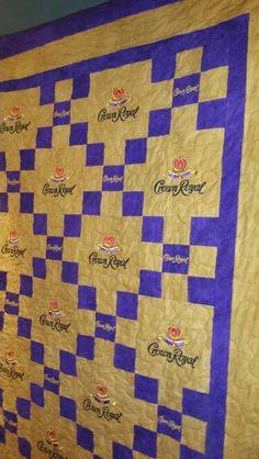 My son loved it. Crown Royal Quilt, Crown Royal Bags, Royal Crowns, Quilting Patterns, Quilting Ideas, Quilting Projects, Rag Quilt, Quilt Blocks, Man Cave Quilts