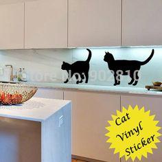 [ elencato in azione ] - 56 x 110 cm ( 22x44in ) romantico gatti adesivo in vinile animale cucina casa disegno decorazione della casa ( L1000188 )