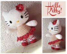 Hello Kitty Crochet pattern 65 inch tall with от SquarepigCrochet, Hello Kitty Crochet, Hello Kitty Dress, Crochet Patterns Amigurumi, Crochet Dolls, Craft Accessories, Cute Crochet, Stuffed Toys Patterns, Handmade Toys, Lana