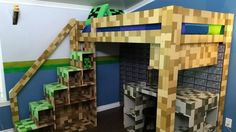Over 8000 colored squares were painted to make sure this super-fan's room looked straight out of Minecraft Boys Minecraft Bedroom, Minecraft Room Decor, Minecraft Crafts, Minecraft Fort, Minecraft Furniture, Game Room Design, Kids Room Design, Chambre Nolan, Boys Bedroom Decor
