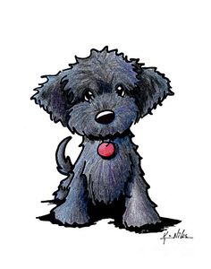 Black Doodle puppy illustration by Kim Niles. © KiniArt - All Rights Reserved.