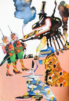 Heinz Edelmann, illustration from the children's book Andromeda SR1, 1970. Germany