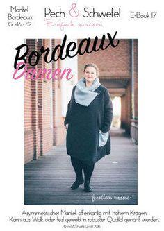 BORDEAUX+ist+ein+asymmetrischer+Mantel,+offenkantig+mit+hohem+Kragen. Bunt+genäht+bringt+er+jede+Menge+Farbe+in+Deinen+Kleiderschrank,+uni+kann+er+schnell+zum+schicken+Basic-+und+Ausgeh-Mantel+werden. In+diesem+Ebook+sind+die+Größen+46+bis+52+des+Schnittmusters+Bordeaux+enthalten+und+es+fällt+den+gängigen+Größentabellen+entsprechend+aus.  Das+Schnittmuster+für+die+Größen+34+–+46+Kinderschnittmuster+findest+du+ebenfall+bei+Makerist.  Im+E-Book+ist+natürlich+auch+noch+eine+Tabelle+enthal...