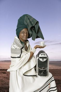 """Tony Gum's first solo exhibition, 'Ode to She', at the Christopher Moller Gallery in Cape Town, concerns the artist's """"explorations, discoveries and understanding of teachings by elders on what it means to be a Xhosa woman"""". Xhosa Attire, African Attire, South African Traditional Dresses, Traditional Outfits, African Dresses For Women, African Women, African Beauty, African Fashion, Astral Projection"""