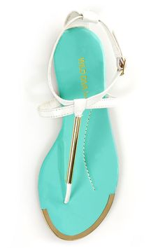 c10140f44376e2 Wild Diva Lounge Tabiana 01B White and Gold Thong Sandals -  17.00  Turquoise Sandals