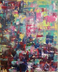 Absentminded Ramblings 16x20 acrylic on canvas.  #Abstract #PaletteKnife #Colorful