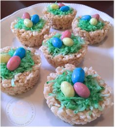 These Rice Krispy bird nests are so easy to make even the kids can help!