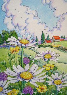 """Blue Skies and Wildflowers Storybook Cottage Series"" - Original Fine Art for Sale - © Alida Akers"