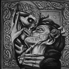 Chicano Art Tattoos, Chicano Drawings, Tattoo Drawings, Body Art Tattoos, Skull Couple Tattoo, Couple Tattoos Love, La Muerte Tattoo, Catrina Tattoo, Sugar Skull Tattoos