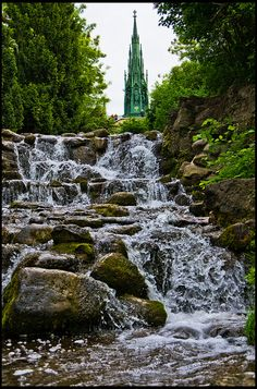 ღღ Viktoriapark -  Berlin-Kreuzberg, Germany Artificial fall with Schinkel's National Monument in the background. ~~~ More info: http://en.wikipedia.org/wiki/Viktoriapark