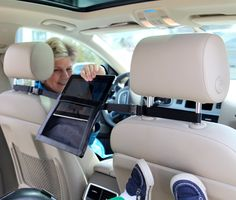 Amazon.com: 2GoTablet iPad Holder for the Car- mount between headrests for full viewing in back seat: Computers & Accessories. Perfect for driving with the kids and using the iPad! The whole back row can see it instead of just one kid.