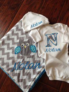 Personalized Baby Set Owl Blanket Set Minky Baby Blanket
